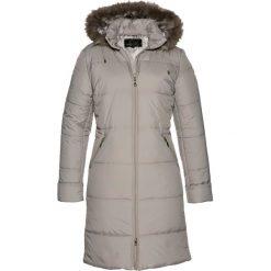 Płaszcze damskie: Płaszcz pikowany z kapturem ze sztucznym futerkiem bonprix kamienisty