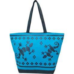 """Torba plażowa """"Bohème"""" w kolorze niebiesko-granatowym - 35 x 58 x 23 cm. Niebieskie torby plażowe Le Comptoir de la Plage, z tworzywa sztucznego. W wyprzedaży za 38,95 zł."""