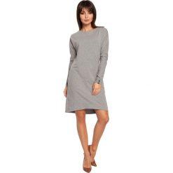 ELI Sukienka asymetryczna szara. Szare sukienki asymetryczne BE, l, z asymetrycznym kołnierzem, z krótkim rękawem, mini. Za 139,99 zł.