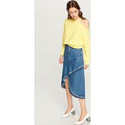 Bluzy rozpinane damskie: Bluza z wycięciem na ramię - Żółty