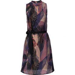 Sukienki: Sukienka z wiązanym paskiem bonprix czarno-lila wzorzysty