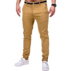 SPODNIE MĘSKIE CHINO P156 - BEŻOWE. Brązowe chinosy męskie marki Ombre Clothing, z aplikacjami, z bawełny. Za 59,00 zł.