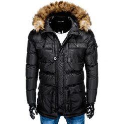 KURTKA MĘSKA ZIMOWA PARKA C355 - CZARNA. Czarne kurtki męskie bomber Ombre Clothing, na zimę, m, z poliesteru. Za 159,00 zł.