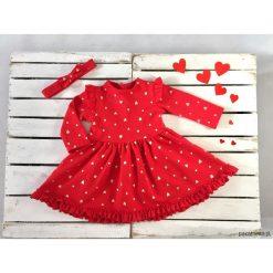 Sukienka red VALENTINES (bez opaski). Czerwone sukienki dziewczęce Pakamera, z bawełny, z długim rękawem, długie. Za 95,00 zł.
