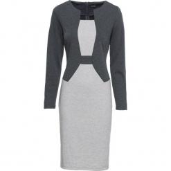 Sukienka bonprix szaro-antracytowy melanż. Szare sukienki dzianinowe bonprix, melanż, z długim rękawem, dopasowane. Za 109,99 zł.