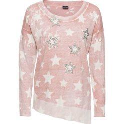 Swetry klasyczne damskie: Sweter z asymetryczną linią dołu bonprix stary jasnoróżowy – biały wzorzysty