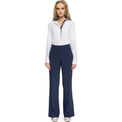 Spodnie z wysokim stanem: Granatowe Szerokie Spodnie z Wysokim Stanem