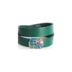 Bransoletka skóra owijana smaragdowa z cyrokniami. Zielone bransoletki damskie na nogę marki Pearls Special, ze stali. Za 39,00 zł.