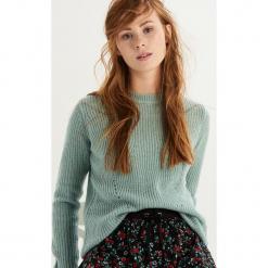 Sweter z ażurowym zdobieniem - Turkusowy. Niebieskie swetry klasyczne damskie marki bonprix, na lato, z bawełny, z okrągłym kołnierzem. Za 49,99 zł.