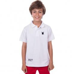 Koszulka polo w kolorze białym. Białe t-shirty chłopięce marki Polo Club Women & Kids, z haftami, z bawełny. W wyprzedaży za 86,95 zł.