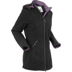 Płaszcz softshell ze stretchem i kapturem bonprix czarny. Czarne płaszcze damskie bonprix, m, z nadrukiem, z materiału, sportowe. Za 239,99 zł.