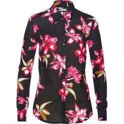 Bluzka z nadrukiem bonprix czarno-jeżynowy z nadrukiem. Czarne bluzki asymetryczne bonprix, z nadrukiem, z długim rękawem. Za 74,99 zł.
