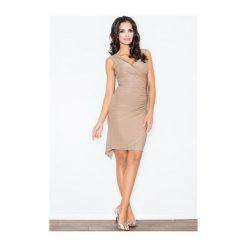 Sukienka Beatrice M053 Mocca. Białe sukienki marki NIFE, eleganckie. Za 99,00 zł.