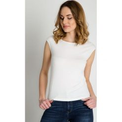 Bluzki asymetryczne: Bluzka ecru z krótkim rękawem BIALCON