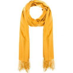 Żółty gładki szal z frędzlami QUIOSQUE. Niebieskie apaszki damskie marki Anais. W wyprzedaży za 19,99 zł.