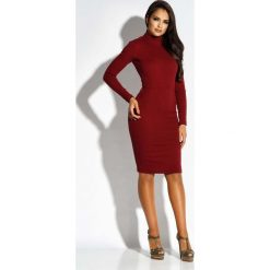 Bordowa Sukienka z Wycięciem na Plecach. Czerwone sukienki koktajlowe marki Molly.pl, na co dzień, l, z dekoltem na plecach, z długim rękawem, dopasowane. Za 229,90 zł.