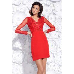Sukienka dopasowana z koronką 2159. Niebieskie sukienki balowe Bico, xs, w koronkowe wzory, z koronki, z długim rękawem, dopasowane. Za 199,00 zł.