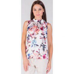 Bluzki damskie: Elegancka bluzka ecru w kwiaty QUIOSQUE