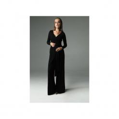 KOMBINEZON FLASH - CZARNY. Czarne kombinezony eleganckie Madnezz, l, z aplikacjami, z bawełny, z kopertowym dekoltem, z długim rękawem, długie. Za 320,00 zł.