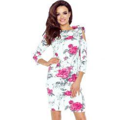 Sukienki: Bonita sukienka z pęknięciem na ramieniu gałązka bordo