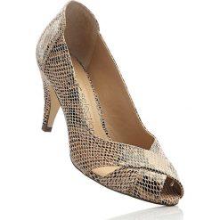 Buty ślubne damskie: Czółenka skórzane z odkrytymi palcami bonprix brązowy skóra węża