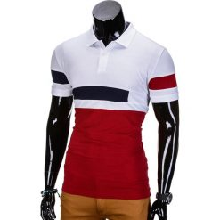 KOSZULKA MĘSKA POLO BEZ NADRUKU S846 - CZERWONA. Czerwone koszulki polo marki Ombre Clothing, m, z nadrukiem. Za 39,00 zł.