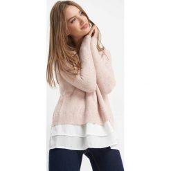 Sweter z cekinami. Brązowe swetry klasyczne damskie marki Orsay, xs, z dzianiny, z koszulowym kołnierzykiem. Za 119,99 zł.