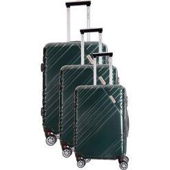 Zestaw walizek w kolorze ciemnozielonym - 3 szt. Zielone walizki marki Travel One, z materiału. W wyprzedaży za 619,95 zł.