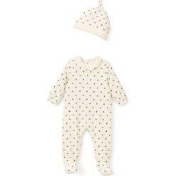 Bielizna dziewczęca: Piżama welurowa + czapeczka w gwiazdki 0 miesięcy-3 lata