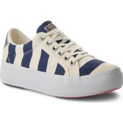 Sneakersy NAPAPIJRI - Astrid 16738577 Striped Blue N697. Białe sneakersy damskie marki Napapijri, z materiału. W wyprzedaży za 179,00 zł.