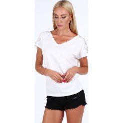 Bluzka ze zdobionymi rękawami kremowa ZZ1106. Białe bluzki asymetryczne Fasardi, l. Za 49,00 zł.