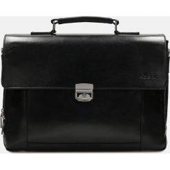 Czarna torba męska. Czarne torby na laptopa Kazar, w paski, ze skóry, z tłoczeniem. Za 899,00 zł.