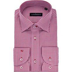 Koszula Czerwona w Kratę Pena. Czerwone koszule męskie na spinki marki LANCERTO, m, w kratkę, z bawełny, z klasycznym kołnierzykiem. W wyprzedaży za 149,90 zł.