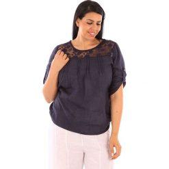 """T-shirty damskie: Lniana koszulka """"Majorque"""" w kolorze granatowym"""