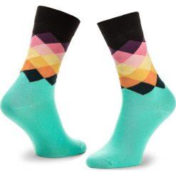 Skarpety Wysokie Unisex HAPPY SOCKS - FAD01-7000 Kolorowy Zielony. Zielone skarpetki męskie Happy Socks, w kolorowe wzory, z bawełny. Za 34,90 zł.