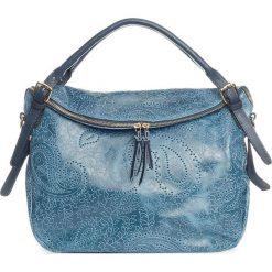 Torebki klasyczne damskie: Skórzana torebka w kolorze niebiesko-brązowym – 40 x 36 x 16 cm