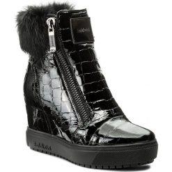 Botki BALDININI - 848403ACELA00F Nero. Czarne buty zimowe damskie Baldinini, z lakierowanej skóry, na obcasie. W wyprzedaży za 969,00 zł.