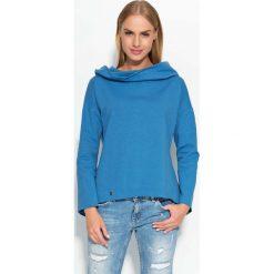 Bluzy damskie: Niebieska Bluza z Szerokim Kapturem