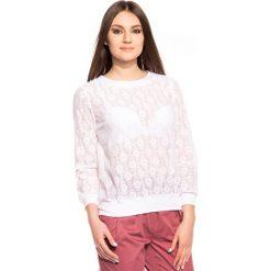 Bluzki asymetryczne: Koronkowa biała bluzka BIALCON