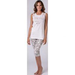 Damska piżama Jersey. Szare piżamy damskie Astratex, w koronkowe wzory, z bawełny, na ramiączkach. Za 97,99 zł.