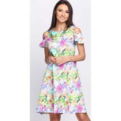 Sukienki: Zielono-Różowa Sukienka Vanilla
