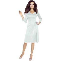 Sukienki: Beżowa Sukienka Midi z Kopertowym Wiązaniem na Boku