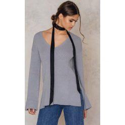 Tuniki damskie: NA-KD Dzianinowa tunika z szerokim rękawem - Grey,Blue