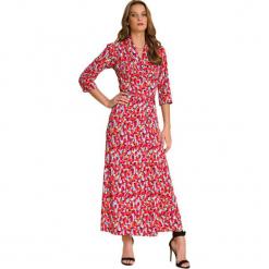 Sukienka w kolorze czerwonym ze wzorem. Czerwone długie sukienki marki Almatrichi, proste. W wyprzedaży za 159,95 zł.