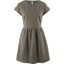 Sukienka lniana bonprix ciemnooliwkowy. Brązowe sukienki marki DOMYOS, xs, z bawełny. Za 44,99 zł.