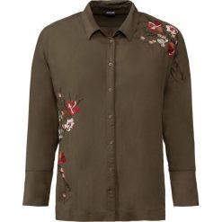 Bluzka z haftem bonprix oliwkowy. Zielone bluzki z odkrytymi ramionami bonprix, z haftami. Za 59,99 zł.