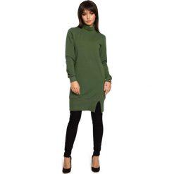 Zielona Bluzo-Tunika z Golfem. Zielone tuniki damskie eleganckie Molly.pl, l, z bawełny, z golfem, z długim rękawem. Za 139,90 zł.