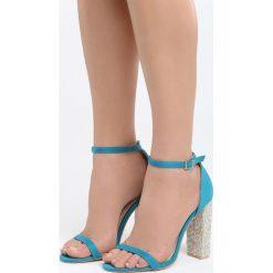 Niebieskie Sandały Great Fall. Niebieskie sandały damskie na słupku marki Born2be, z materiału, na wysokim obcasie. Za 89,99 zł.
