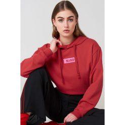 Bluzy damskie: NA-KD Trend Bluza z kapturem i logo NA-KD – Red
