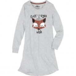 Koszula nocna, bawełna organiczna bonprix jasnoszary melanż z nadrukiem. Szare koszule nocne i halki bonprix, melanż, z bawełny. Za 59,99 zł.
